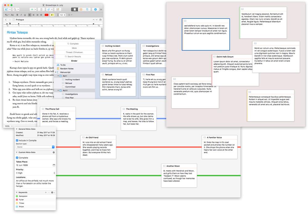 Flexible layouts in Scrivener
